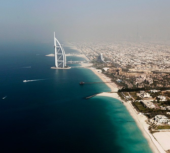 An aerial view of the Burj Al Arab hotel is seen in Dubai.