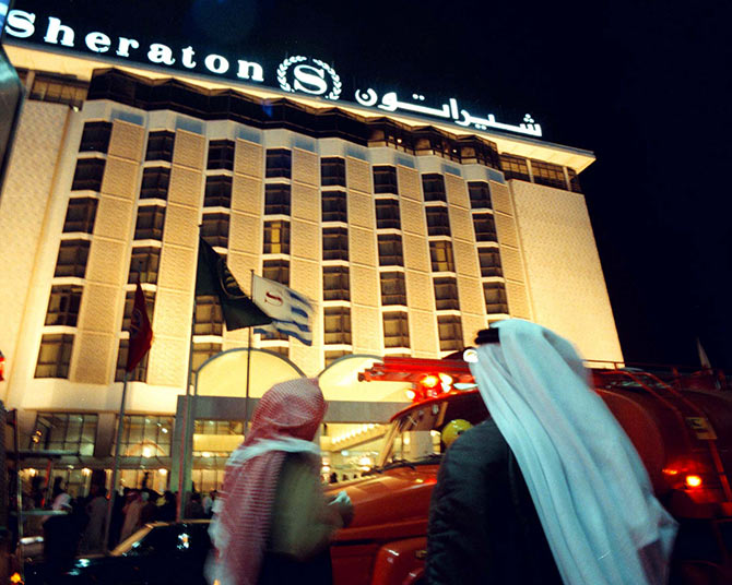 Guests and residents of the luxurious five star Sheraton hotel in downtown Kuwait city.