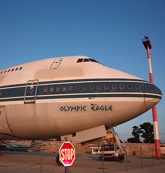 An Olympic Airways airplane stands on the premises of Hellenikon.