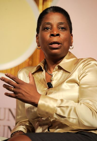Chairman and CEO of Xerox Ursula Burns speaks onstage at an event.