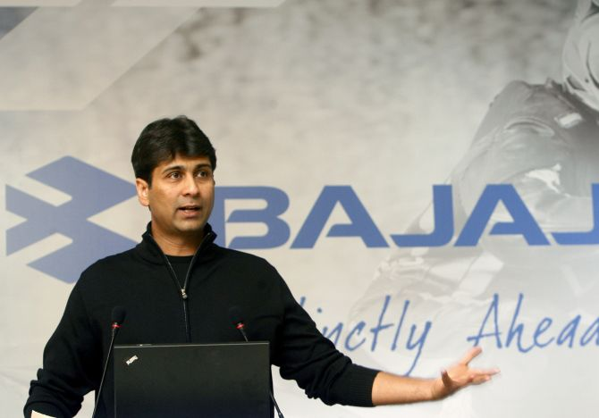 Managing Director of Bajaj Auto Rajiv Bajaj speaks during a news conference in New Delhi.