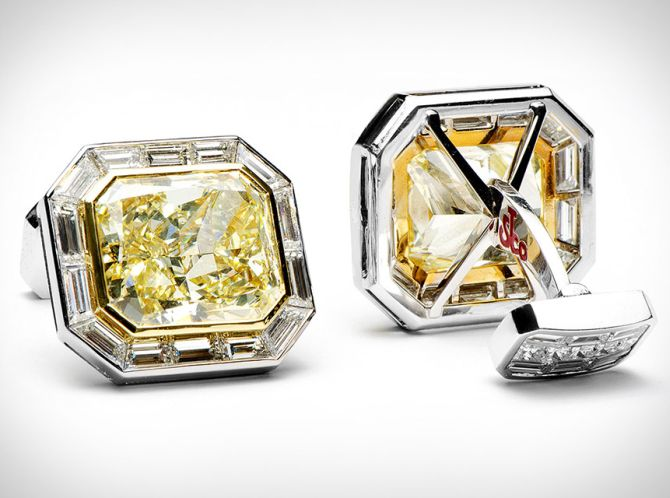 Canary's diamond cufflinks.