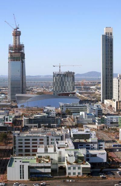 A construction site of Songdo International City district.