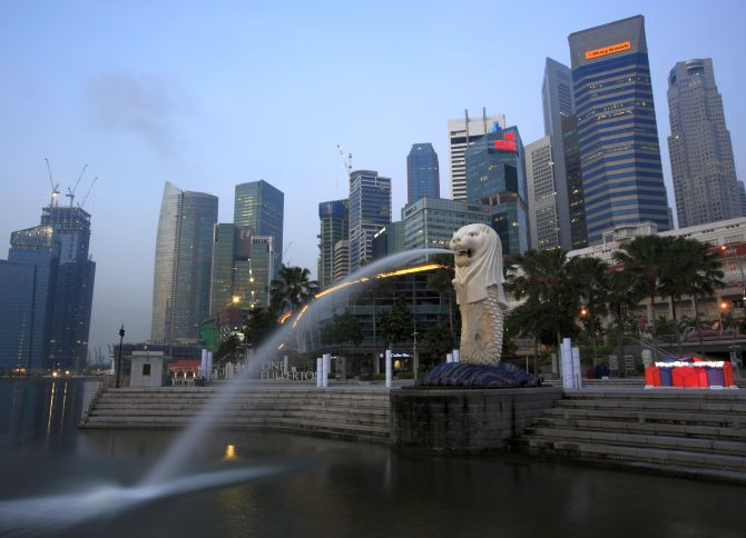 A general view of Singapore's financial district from Merlion Park.