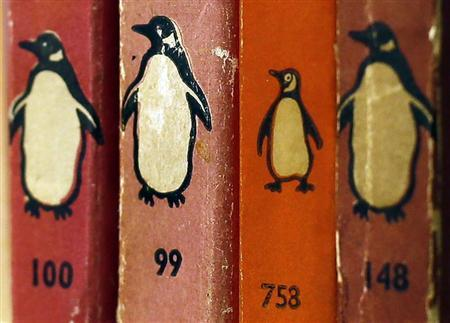 Penguin books are seen in a used bookshop.