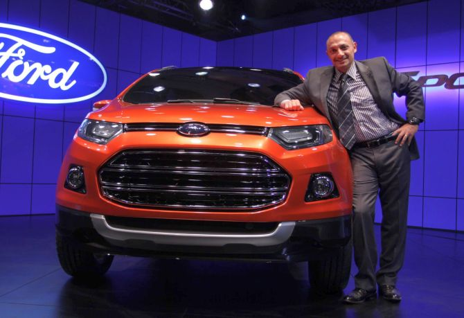 Ehab Kaoud, chief designer, Ford North America, with EcoSport.