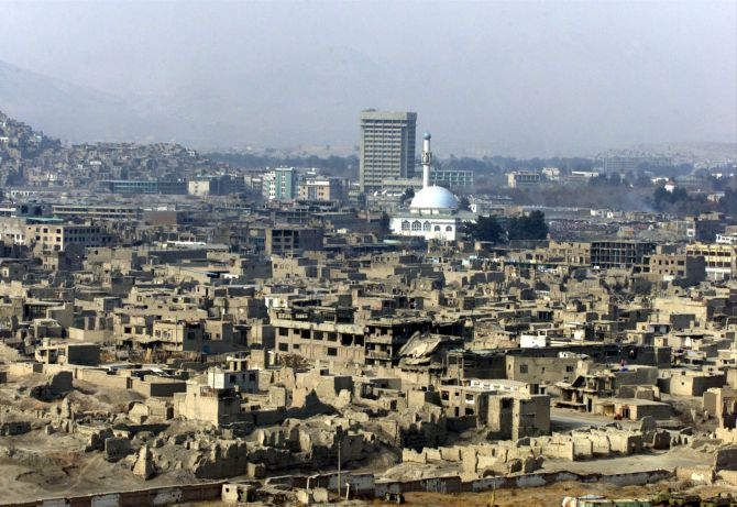 A high angle view of war-torn Kabul.