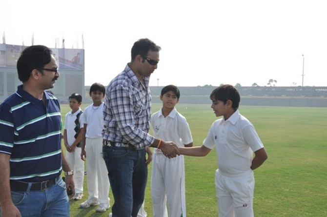 Indian Cricketer VVS Laxman met the students of SISJ during his visit to the school.