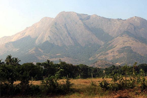 The 1600-km long mountain chain of Western Ghats.