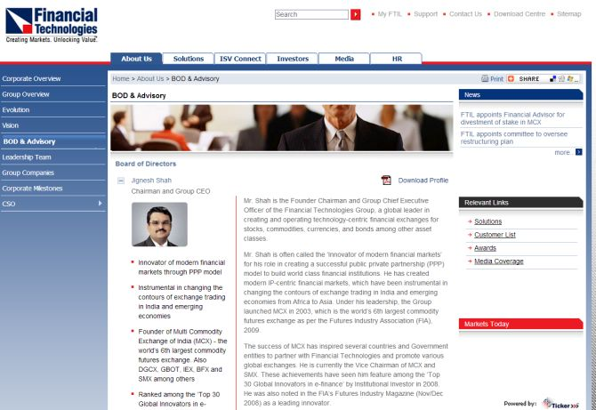 Screenshot of Financial Technologies' website.