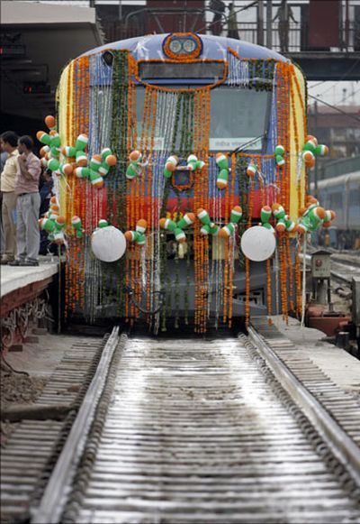 A train decorated on Indian festival of Dussehra.