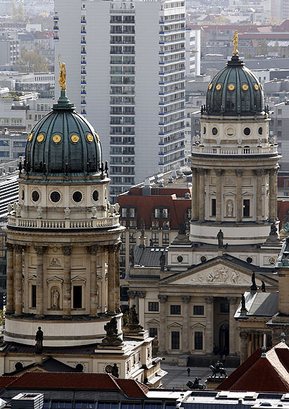 A general view show the Franzoesischer Dom (L) (French cathedral) and Deutscher Dom (German cathedral) in Berlin.
