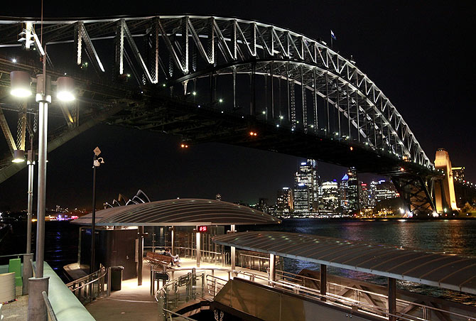 The Sydney Harbour Bridge and city skyline.