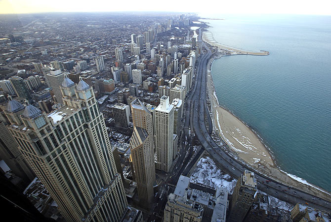A general view of the city of Chicago.