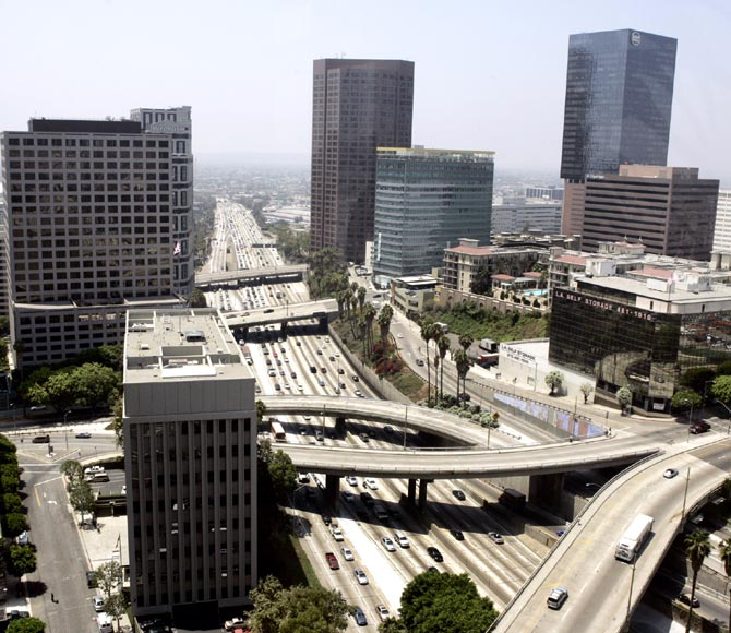 The Harbor Freeway is shown looking south through downtown Los Angeles.