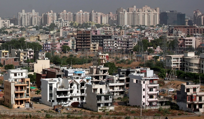 A general view of the residential apartments is pictured at Gurgaon, on the outskirts of New Delhi.