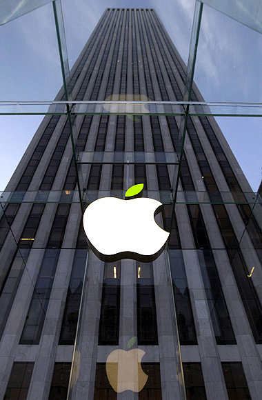 The leaf on the Apple symbol is tinted green at the Apple flagship store on 5th Ave in New York.