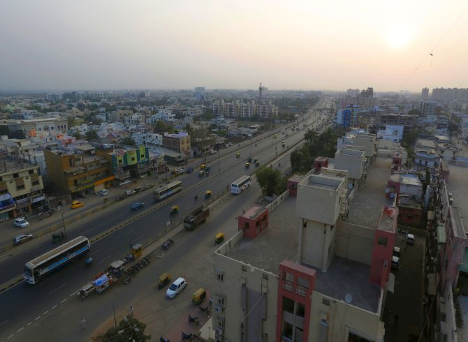 A general view of Johapura area is pictured in Ahmedabad.