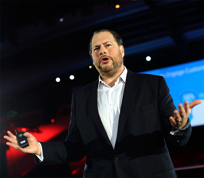 Salesforce.com CEO Marc Benioff delivers his keynote address at the company's annual Dreamforce event in San Francisco.