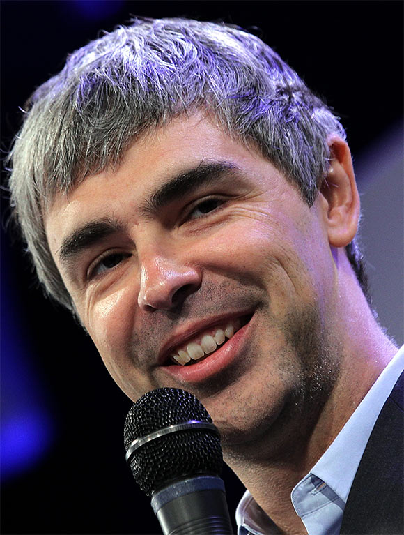 Google co-founder and CEO Larry Page speaks during a news conference at the Google offices.