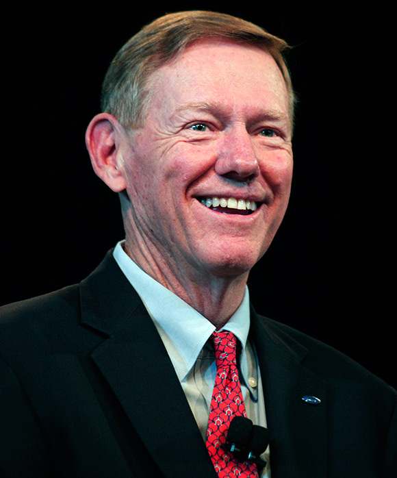 Ford President and CEO Alan Mulally attends a press conference.