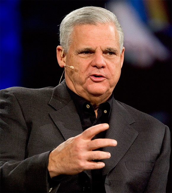 Joe Tucci, Chairman, President and Chief Executive Officer of EMC Corporation, speaks at the RSA conference at the Moscone Center.