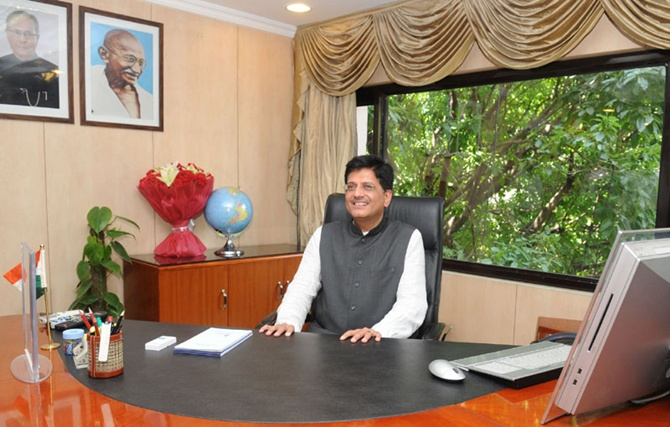 Piyush Goyal taking charge as the Minister of State (Independent Charge) for Power, in New Delhi.