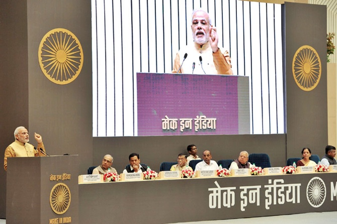 Prime Minister Narendra Modi at the launch of the Make in India Mission at Vigyan Bhavan in New Delhi.