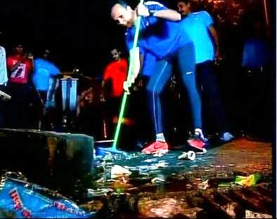 Anil Ambani cleans area around Mumbai's Churchgate Station