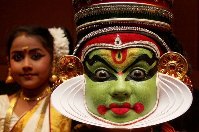 A Kathakali dancer performs during a cultural programme in Chandigarh.