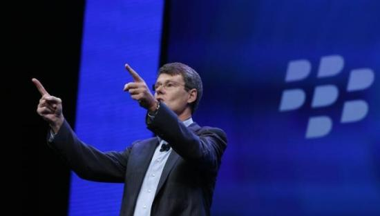 BlackBerry president and chief executive Thorsten Heins points during the launch of the Blackberry 10 devices in New York.