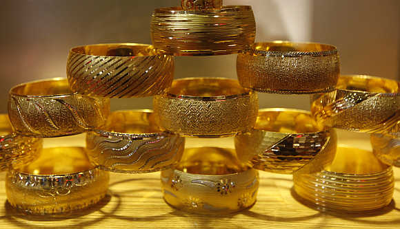Gold bangles are on display at the international Istanbul jewellery fair in Turkey.