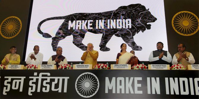 Prime Minister Narendra Modi at the 'Make in India' event. Photograph: PTI
