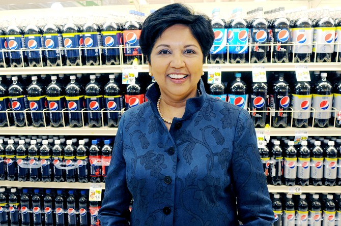 PepsiCo CEO Indra Nooyi poses for a portrait by products at the Tops SuperMarket in Batavia, New York.