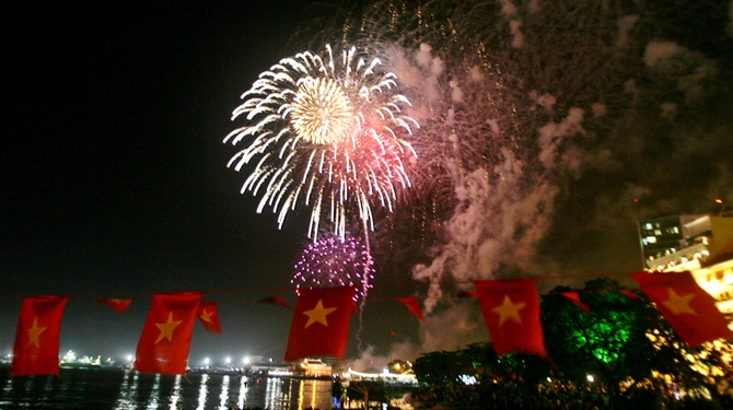 This file photo shows fireworks exploding in the night sky as Vietnam celebrates the anniversary of the end of the war with the US and its allies in Ho Chi Minh City.