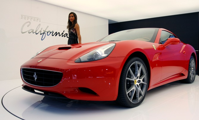 A model poses near the new Ferrari California car.
