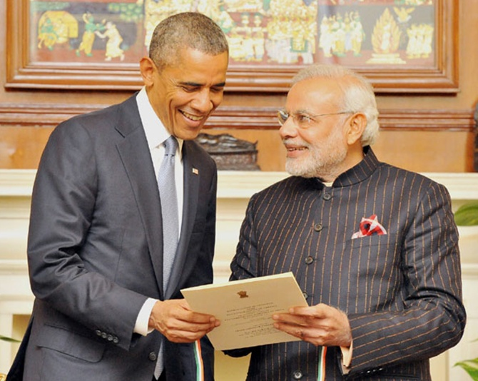 US President Barack Obama with Prime Minister Modi in New Delhi. Photograph: Press Information Bureau