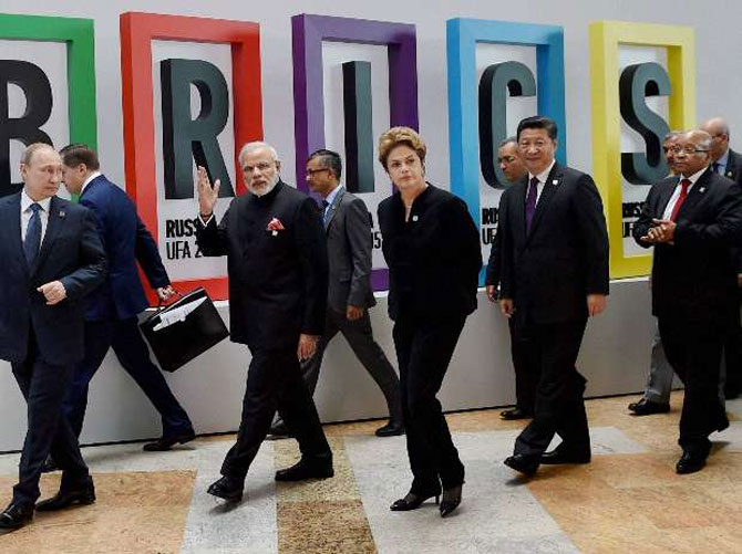 Prime Minister Narendra Modi with Russian President Vladimir Putin, then Brazilian President Dilma Rousseff Chinese President Xi Jinping and South African President Jacob Zuma  at the BRICS summit in UFA, Russia, July 2015. Photograph: PTI