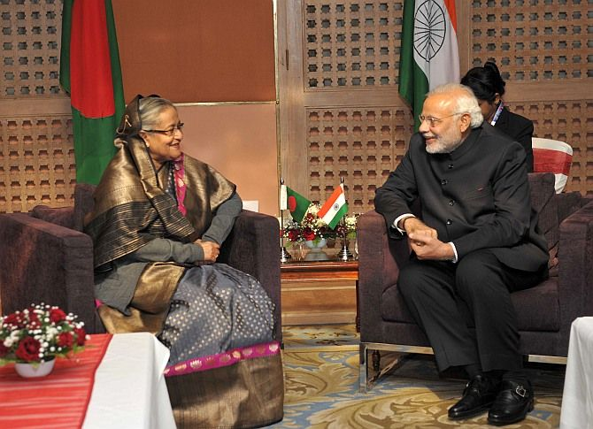 Prime Minister meets Prime Minister Sheikh Hasina of Bangladesh on the sidelines of 18th SAARC Summit at Kathmandu (November 26, 2014). Photograph: Ashish Maitra/Photo Division