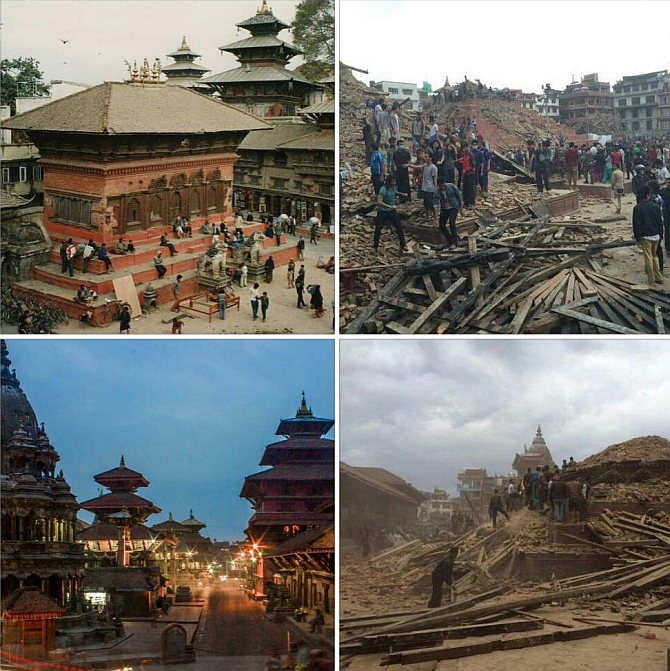 Image: Kathmandu's Patan Durbar Square before and after the quake. Photograph: @MrScottEddy/Twitter