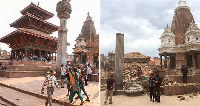Image: The Hari Shankar temple before and after the quake.
