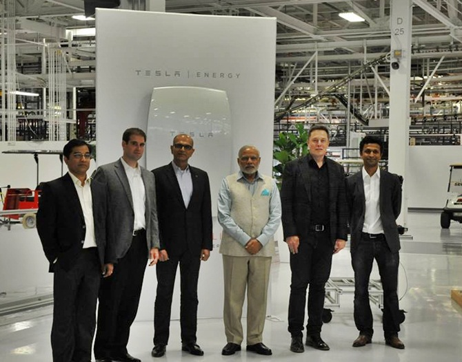 Modi at the Tesla Motors' office in US
