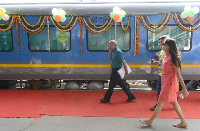 Getting ready to board India's fastest train