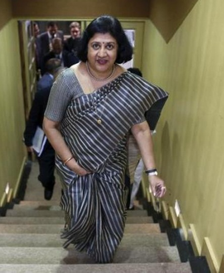 SBI Chairman Arundhati Bhattacharya, who was to retire on September 30, has had her tenure extended by a year, to supervise the bank's ongoing proposals, including the merger of the parent bank with its subsidiaries. Photograph: Reuters