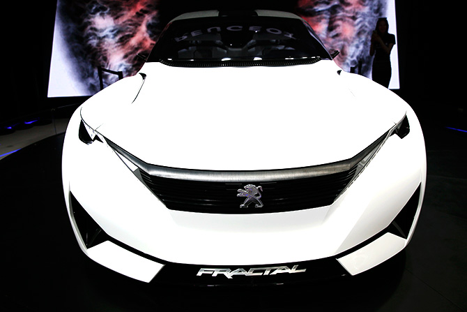 A Peugeot Fractal electric coupe car