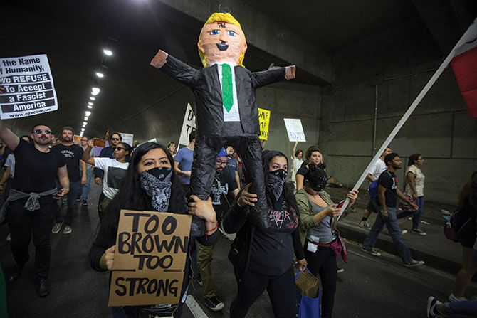 A protest against Donald John Trump in Los Angeles, November 12, 2016. Photograph: David McNew/Getty Images
