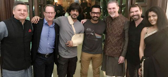 Reed Hastings with Shah Rukh and Aamir Khan