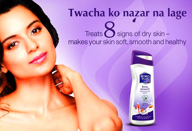Kangana Ranaut advertises Boroplus Moisturising Lotion for Emami