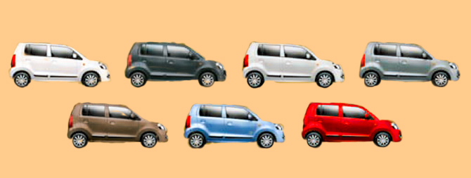 The full range of colours of the Wagon R