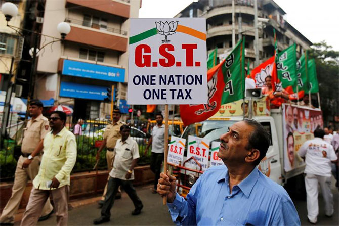 A Bharatiya Janata Party rally in support of GST in Mumbai. Photograph: Shailesh Andrade/Reuters